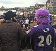There was plenty of purple to be found on the Inner Harbor Friday morning.