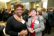 Pat Frazier, business manager, Maryland Washington Minority Contractors Association; Annemarie Coughlin, territorial marketing director, IWIF.