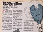 Another headline that fits in almost any era. Baltimore loves the idea of new luxury hotels. Back in 1983 it was the Tremont (now an Embassy Suites) and the Brookshire (sold in 2012). If only those city-leaders dreaming of new luxury hotels could have known about today's Hilton Baltimore, Four Seasons, Marriott Waterfront and Hotel Monaco.