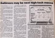 Oh, how tech has changed. High-tech in 1983 meant computer science and electrical engineering. No mention of the internet, mobile or cloud technology. This is also the first BBJ article to mention Baltimore as a future tech hub or Silicon Valley, a theme we would return to on numerous occasions over the years.