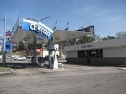 A Chevron station on Center Point Parkway was damaged in Monday's storm.