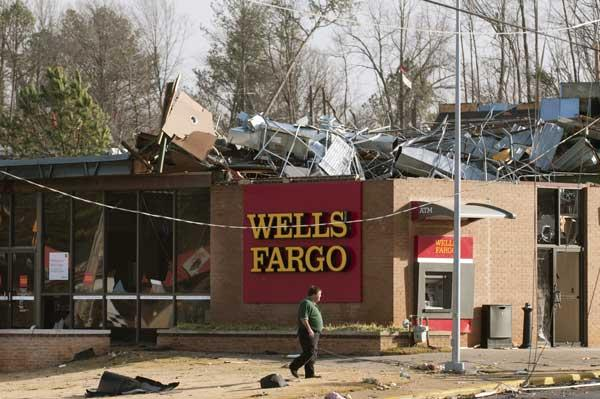 A Wells Fargo (NYSE: WFC) branch was damaged by the storm.
