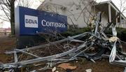A BBVA Compass branch that was damaged in the storm.