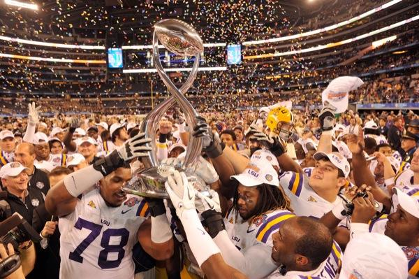 LSU ranks as the top college football team.