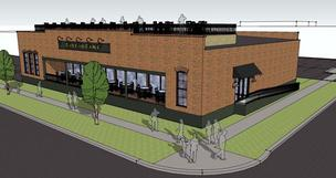 A schematic drawing of a potential restaurant across the street from Regions Field.
