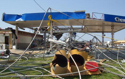An example of the damage wrought by last week's tornadoes that ripped through the South.