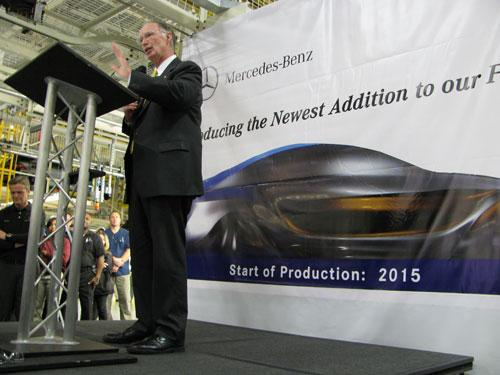 Gov. Robert Bentley speaks at the Mercedes-Benz plant in Vance about the addition of a fifth vehicle to be made there.