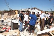 President Obama, along with Gov. Robert Bentley and Tuscaloosa Mayor Walt Maddox, visited the Alberta City area to see the damage.