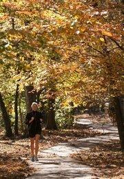 Beth Neal of Mountain Brook jogs along Jemison Park.