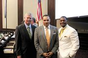Fred McCallum, president of AT&T Alabama and chairman of the Birmingham Business Alliance, Freeman Hrabowski and Kelvin Howard, an attorney with Waldrep Stewart & Kendrick LLC and chairman of the African American Business Council.