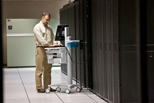 Venture Technologies' Troy George works in a data center.