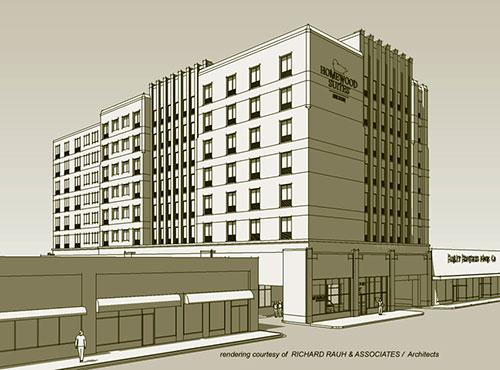 A rendering from Richard Rauh & Associates of the planned Homewood Suites.