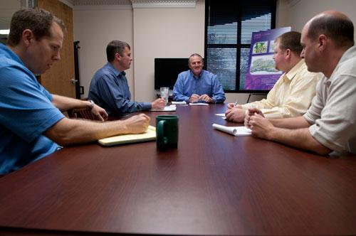 Bryan Pate leads a meeting at InSite Engineering LLC. Pate, the company's chief operating officer, said sticking to an agenda is one key to an effective meeting.