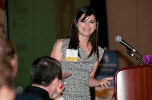 Amanda LeBlanc, of The Amandas, speaks after winning the Rising Star award.