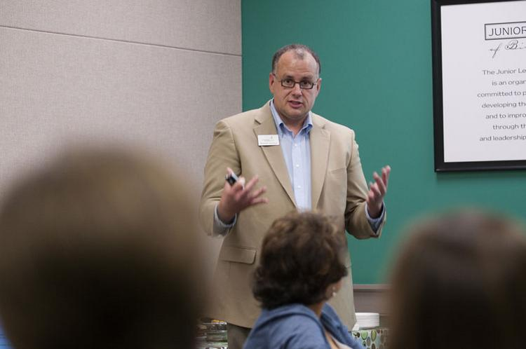 Russell Jackson, chief operating officer of the Alabama Association of Nonprofits lectures about nonprofit boards at the Junior League of Birmingham Leadership Institute.