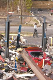 The Center Point business district was heavily damaged in the Jan. 23 storm.