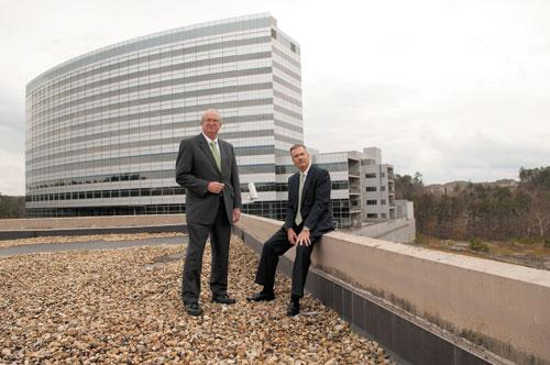 Trinity Medical Center CEO Keith Granger, left, and Daniel Corp.'s Jim Adams have big plans for the proposed hospital campus.