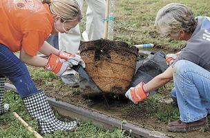 Volunteers plant trees to restore the tornado-scarred landscape in Cordova.
