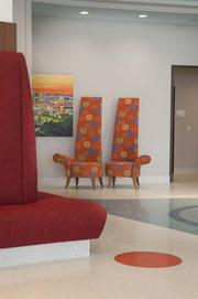 The interior design of the $400 million facility incorporates color throughout the hospital.