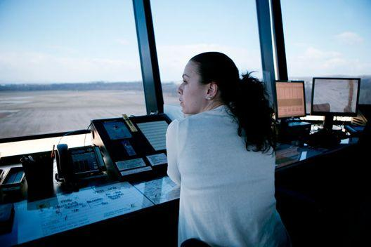 Preparing for final approach: air traffic controller specialist Mamie Ambrose works at the Frederick Municipal Airport control tower in Frederick, Maryland, U.S., one of the contract towers being closed due to automatic government budget cuts, known as sequestration.
