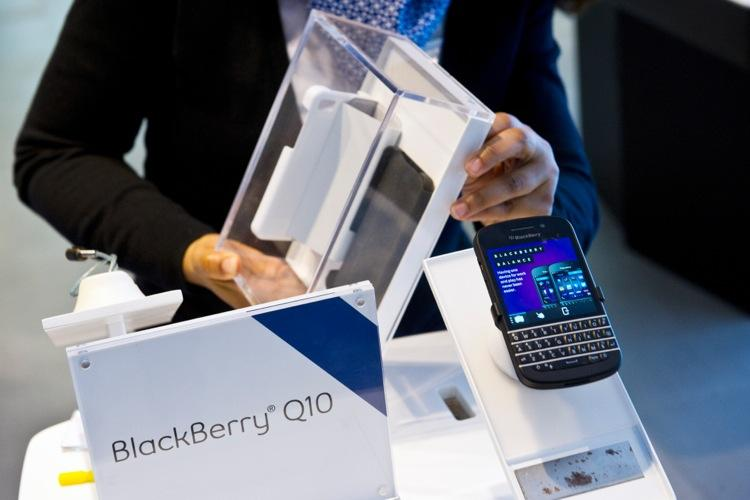 This is the BlackBerry Q10, released earlier this year with an actual keyboard like the BlackBerry devices of years past. Get a good look since it might be the last BlackBerry like it.