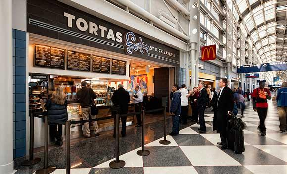 Celebrity chef Rick Bayless opened two of his Tortas Frontera eateries at Chicago's O'Hare in 2011.