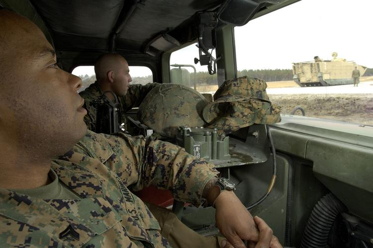 Cpl. George Bradley and Cpl. Joseph Litty test a General Dynamics prototype Expeditionary Fighting Vehicle at Camp Lejune in 2006. Camp Lejune is one of the driving economic forces in Onslow County, N.C.