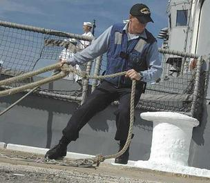Navy seaman on a ship