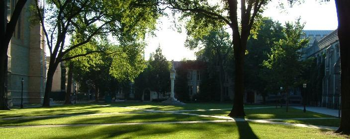 Princeton, whose university square us pictured, has the most selective admissions policy.