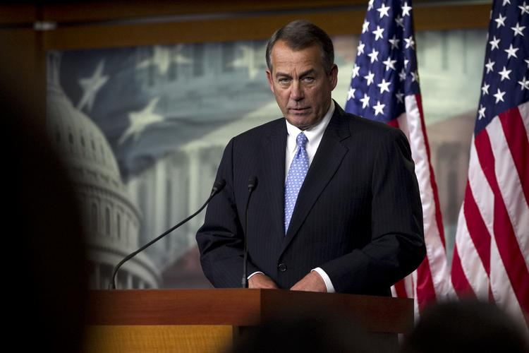 """House  Speaker John Boehner speaks during a news  conference in Washington, D.C., on Thursday. Boehner pulled his """"Plan B"""" fiscal cliff proposal after it failed to gain support from Republicans."""