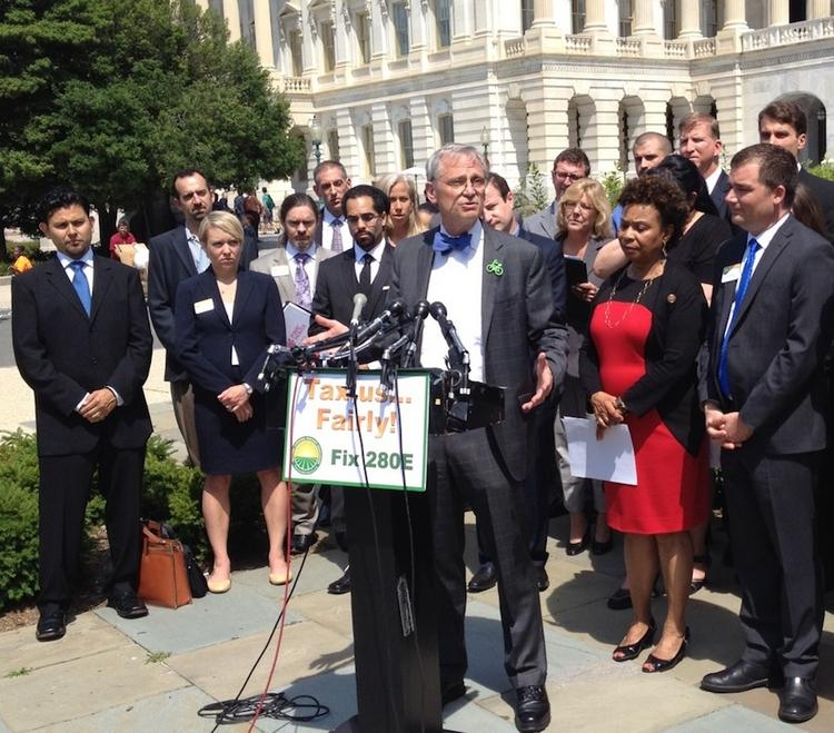 Rep. Earl Blumenauer, D-Ore., speaks at a Capitol Hill press conference in favor of letting marijuana businesses deduct operating expenses from their federal taxes.