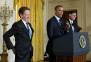 President Barack Obama yucks it up with Treasury Secretary Tim Geithner, left, and Jack Lew, Obama's choice as Geithner's replacement.