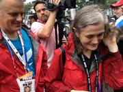 "Amy Goodman, host of the ""Democracy Now"" radio show, covered the march."