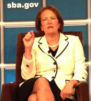 SBA Administrator Karen Mills, like Mitt Romney, ran a private equity firm -- but she doesn't want to talk about it.
