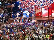 Mitt Romney, Paul Ryan and their families celebrate at the end of the Republican National Convention.