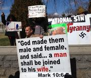 There were a handful of opponents to gay marriage in the crowd, including this protester who cited the Bible.