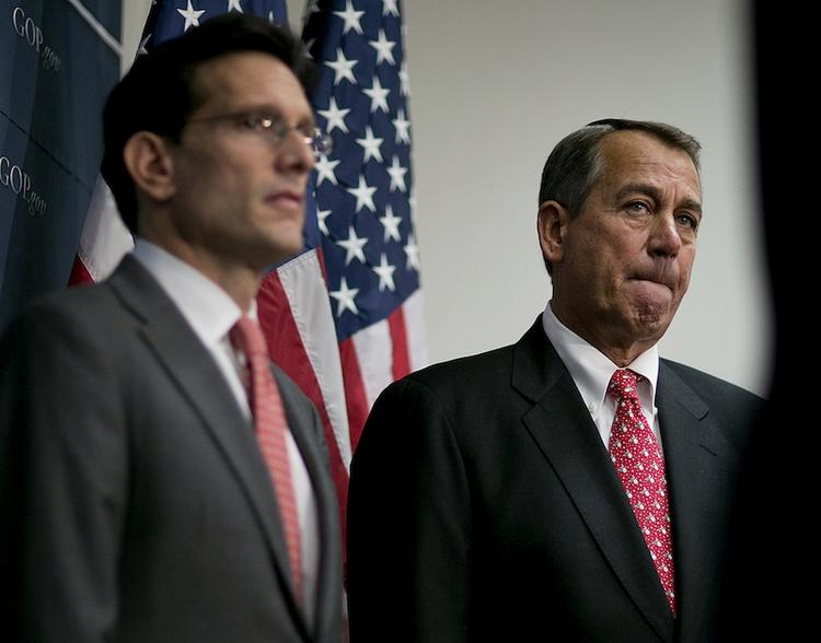House Majority Leader Eric Cantor, left, and House Speaker John Boehner agree with President Barack Obama on Syria, but are fighting him on almost everything else.