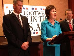 Sen. Susan Collins, R-Maine, expresses her support for footwear tariffs as Sen. Scott Brown, R-Mass., and New Balance Athletic Shoe CEO Rob DeMartini stand by.