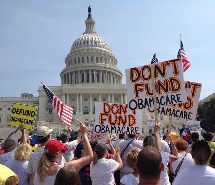 Tea Party members hold a rally at the U.S. Capitol to urge Congress to block funding for health care reform.
