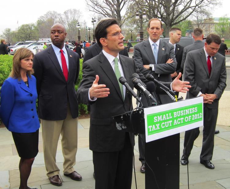 House Majority Leader Eric Cantor announces plans for a small business tax cut.