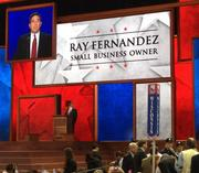 Ray Fernandez tells the convention how Bain Capital helped turn around the contact lens company he formerly worked for, enabling him to make enough money from company stock to later start a pharmacy with his wife.