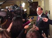 Rep. Louie Gohmert of Texas was one of 12 Republicans who refused to vote for John Boehner as House speaker. Gohmert's shown here talking to reporters in the Capitol basement about his opposition to the fiscal cliff deal.