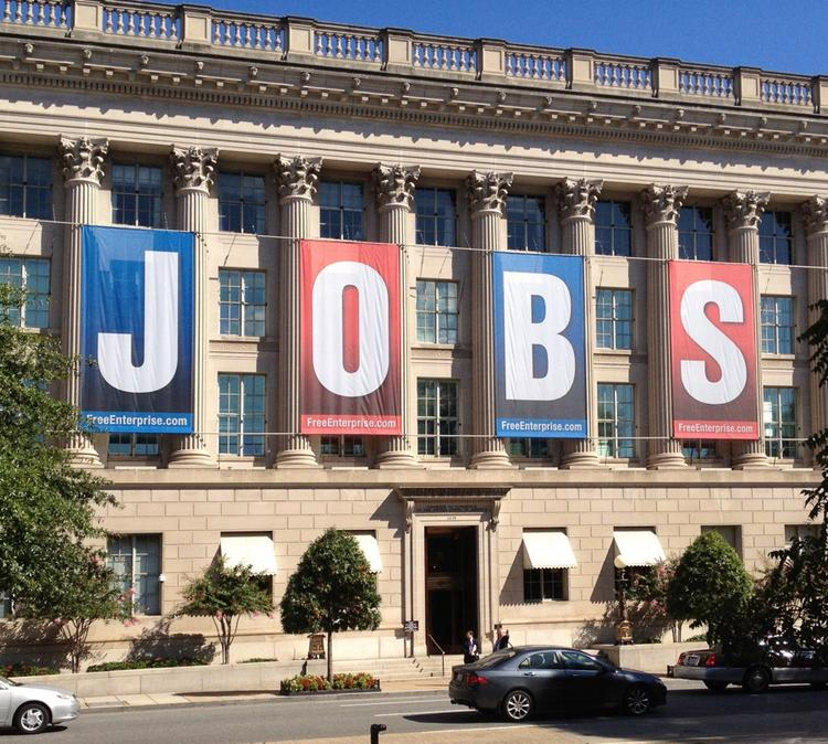 Letters on outside of the U.S. Chamber of Commerce's spell out the business organization's stated political agenda.