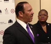 Marc Morial, president and CEO of the National Urban League, speaks to reporters at the Redeem the Dream conference in Washington, D.C. Also pictured is Melanie Campbell, president and CEO of the National Coalition on Black Civic Participation.