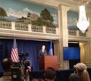 NRA Executive Vice President Wayne LaPierre speaks to the media inside Willard InterContinental ballroom.