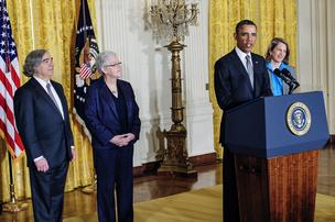 President Barack Obama announces his new Cabinet picks: Ernest Moniz, left, as Energy secretary; Gina McCarthy as EPA administrator, and Sylvia Mathews Burwell to head the Office of Management and Budget.