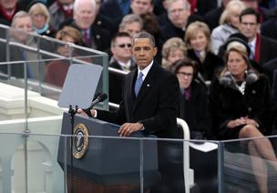 President Barack Obama delivers his inaugural address at the Capitol after being sworn in for a second term.