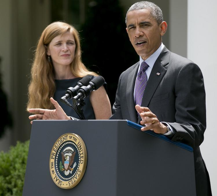 President Barack Obama, shown here with his Samantha Power, his nominee for U.N. ambassador, notes that a woman still makes, on average, only 77 cents for every $1 earned by a man.