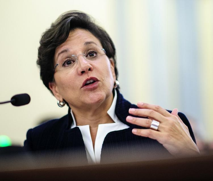 Penny Pritzker testifies during hearing held by Senate on her nomination as Commerce secretary.