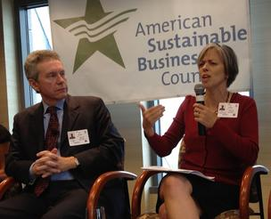 Bonny Moellenbrock, executive director of Investors Circle, talks about how her firm's investment strategy, while Frank Knapp, president of the South Carolina Small Business Chamber of Commerce listens.